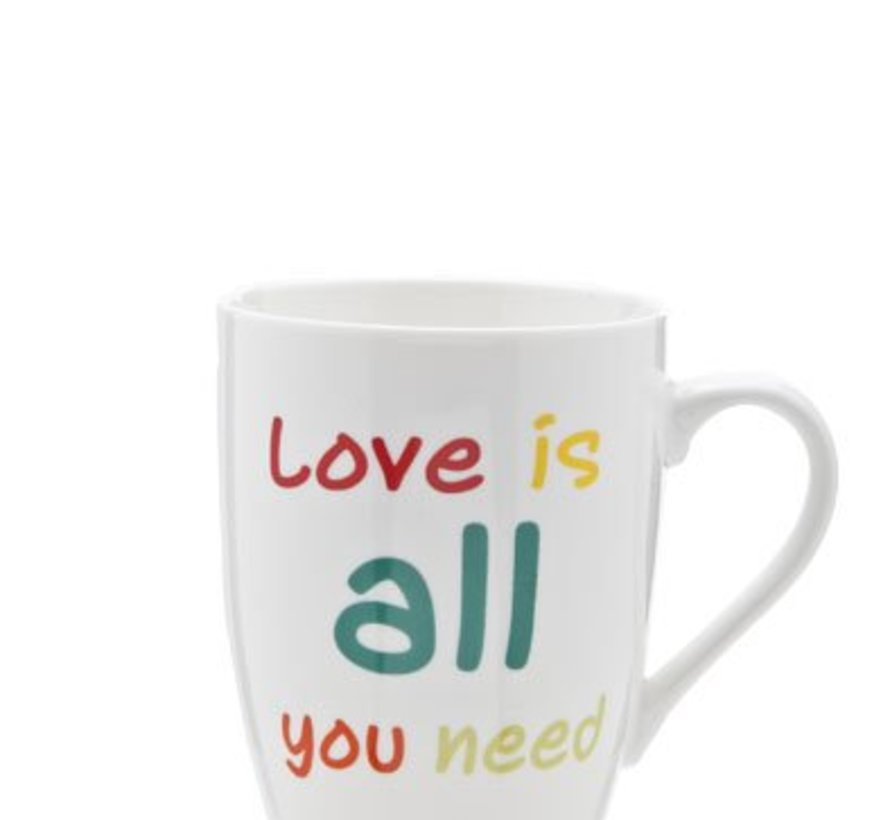 Beker All You Need Is Love 30cl D8.2cmwit Met Kleurtjes (set van 6)
