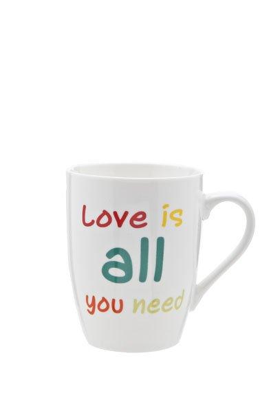 Cosy & Trendy Beker All You Need Is Love 30cl D8.2cmwit Met Kleurtjes (set van 6)