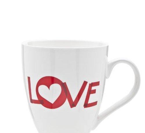 Cosy & Trendy Love Mug D10cm 45cl White-red (6er Set)
