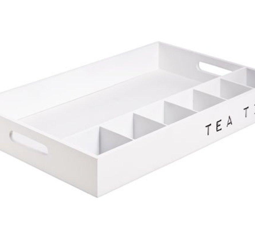 Plateau Tea Time Holz Weiss 45x6x30cm
