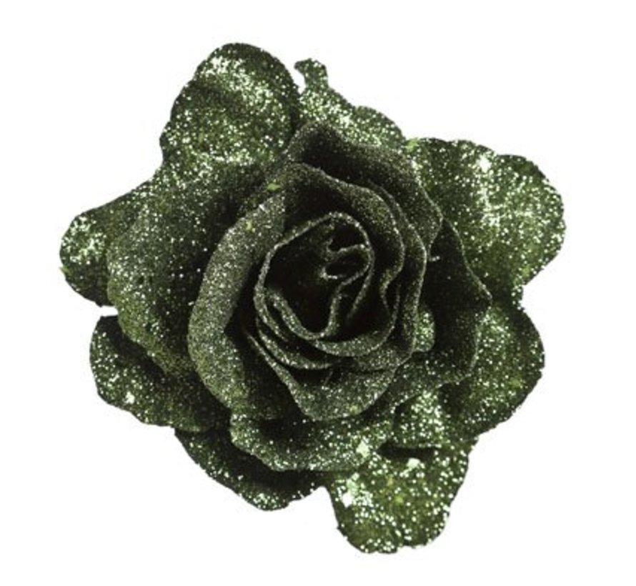 Roos Clip Glitter Groen D10cm Kunststof (set van 12)