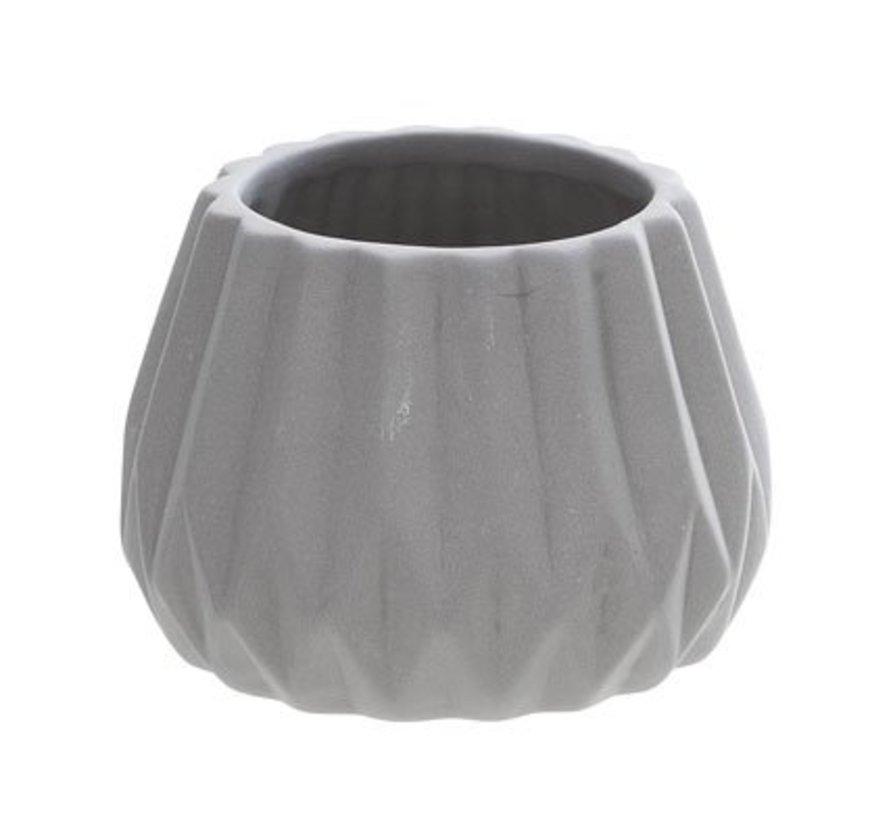 Theelichth. Grijs Porselein D8xh5.6cm (set van 4)
