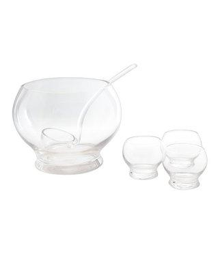 Cosy & Trendy 6pcs Glass Punch Bowl Set  Incl 1 Bowl-4 Cups-1 Ladle - Bowld24.5cmxh18.5cm