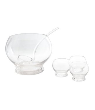 Cosy & Trendy Punch Bowl - 6-piece - (Incl 1 Bowl-4 Cups-1 Scoop-glass-bowl d24.5cmxh18.5cm)