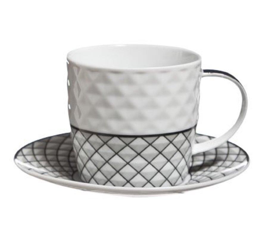 Mosaic Cappuccino Cup And Saucer Set 425cl Cup D8xh7.5cm - Saucer D14.5cm