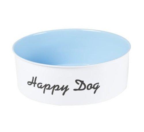 Cosy & Trendy Eet-drinkbak Hond Wit-blauw D22xh7.5cm'happy Dog'  Metaal