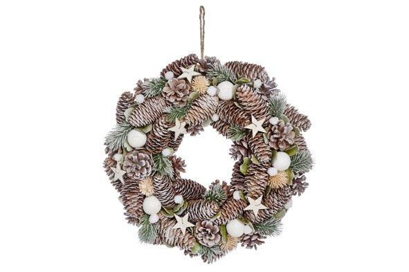 Cosy @ Home Kerstkrans Snowball Cone D34cmgroen Bruin Besneeuwd (set van 2)