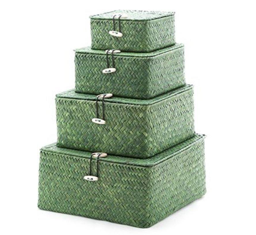 Set4 Rieten Mandje Vierkant Groen 26x26x12.5cm 22x22x11cm 18x18x8.5cm 14x14x7cm