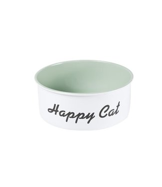 Cosy & Trendy Catbowl White-green D15.5xh6cm Metal'cool Cat' (set of 6)