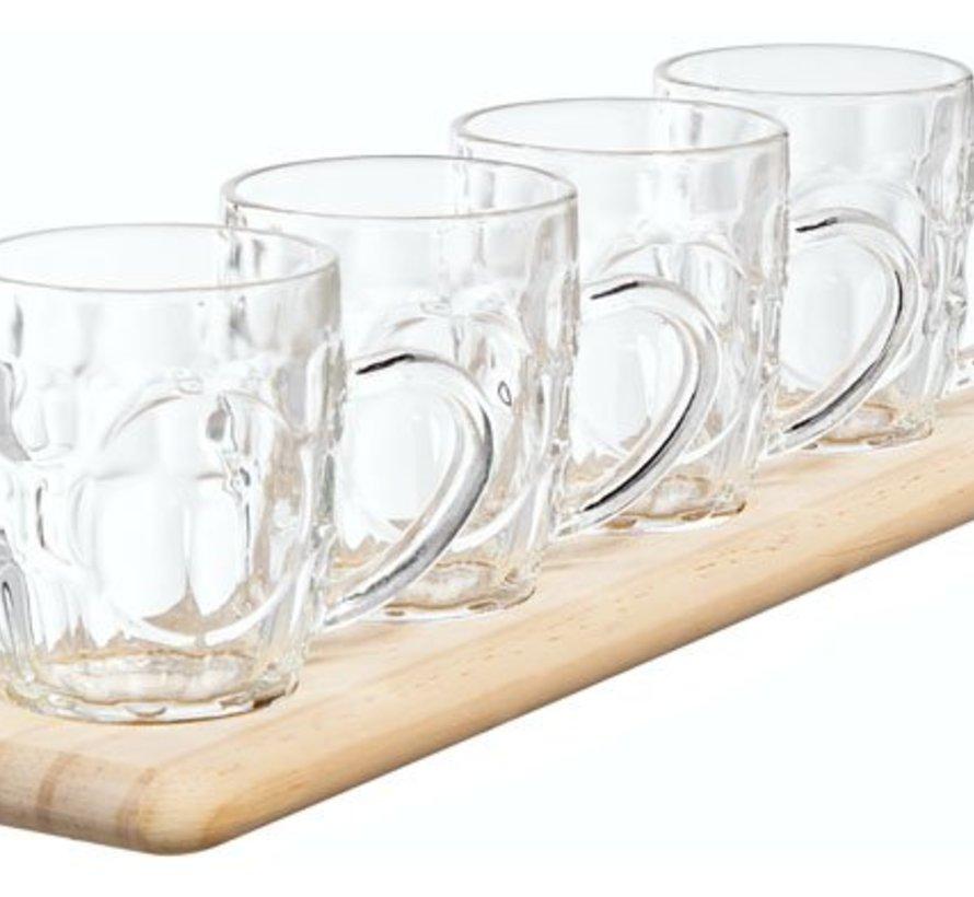 Tasting Set Wooden Tray - 4 Pints 285ml48x10xh1.8cm