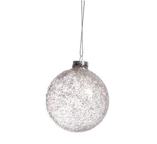 Cosy @ Home Bal Glas Glitter Grijs  D8cm (set van 6)