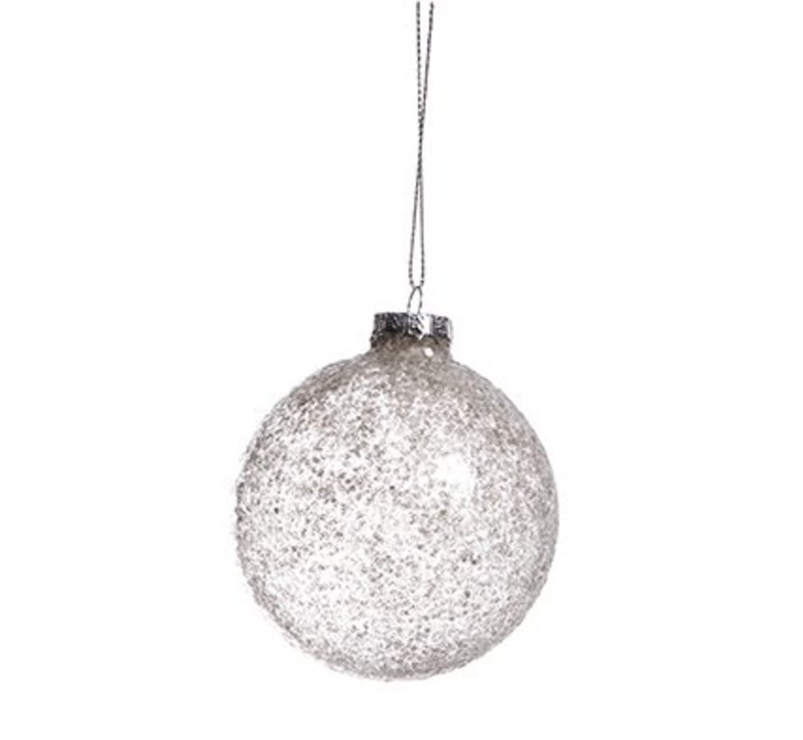 Bal Glas Glitter Grijs  D8cm (set van 6)