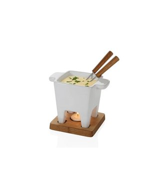 Boska Life Fondue Tapas White On Plate Oak200ml-13x13x13cm