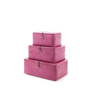 Cosy & Trendy Set3 Rieten Mandje Balk Burgundy 35.5x23x13.5cm 29x21x12.5cm 24x14.5x12cm