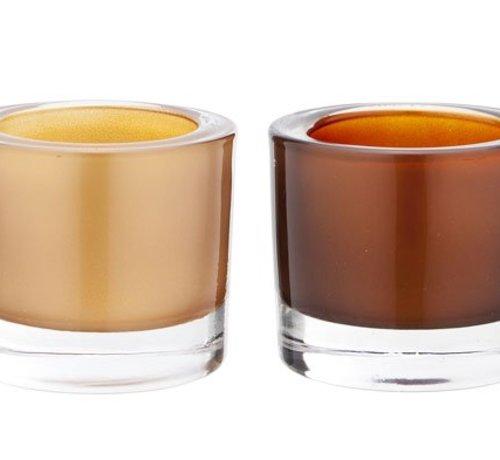 Cosy @ Home Teelichth. Set 2 Glas Copper Gold7x6cm (12er Set)