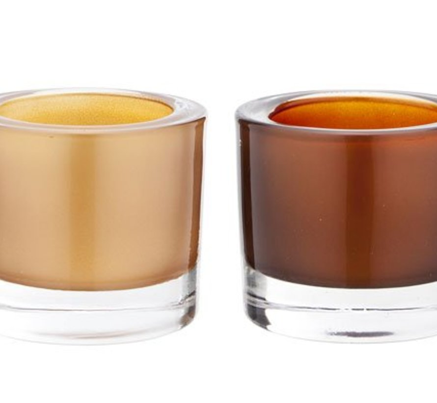 Teelichth. Set 2 Glas Copper Gold7x6cm (12er Set)
