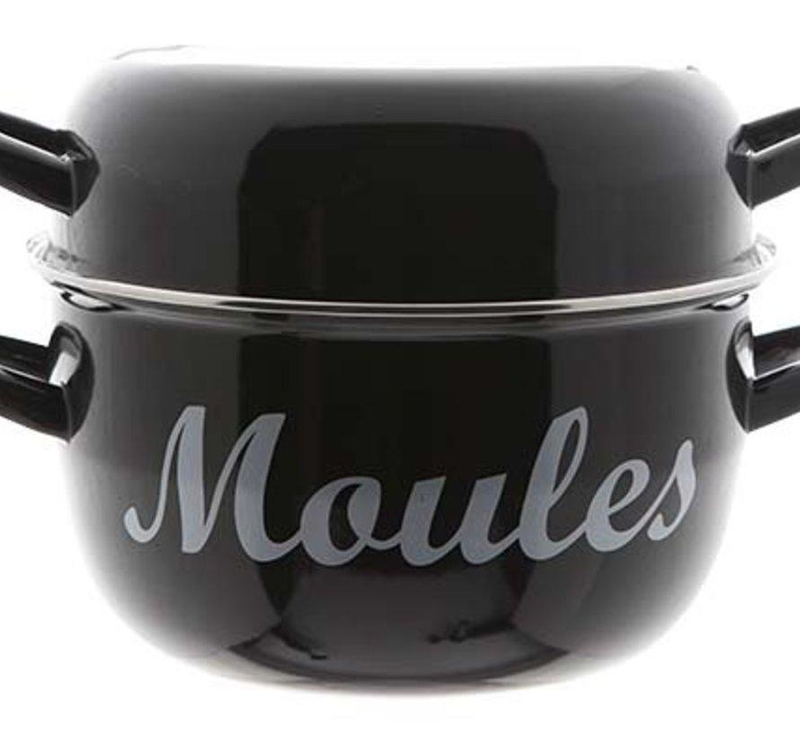 Moules Mosselpot 4kg Zwart Nieuw D24cm (set van 4)