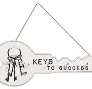 Cosy @ Home Sleutelhanger 4 Haakjes Hout Wit 36x3x15keys To Success (set van 6)
