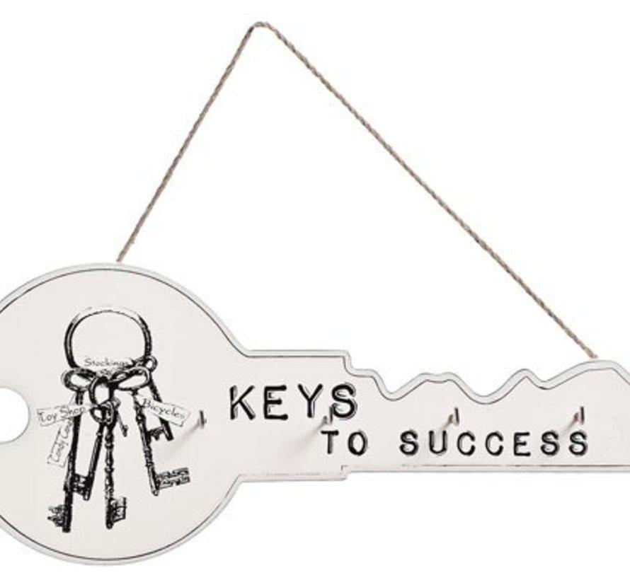 Sleutelhanger 4 Haakjes Hout Wit 36x3x15keys To Success (set van 6)