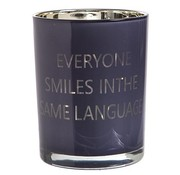 Cosy @ Home T-lichth Everyone...blauw Goud 10x12.5cmglas (set van 12)