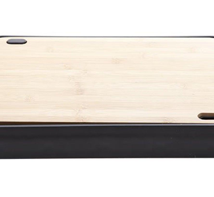 Nero Snijplank Bamboo Met Pl. Dienbladin Zwarte Houder 38x25xh4.7cm