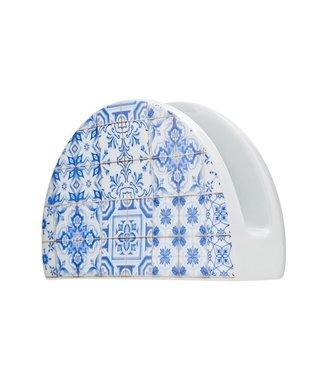Cosy & Trendy Tile Blue Napkin Holder 14.5xh9cm