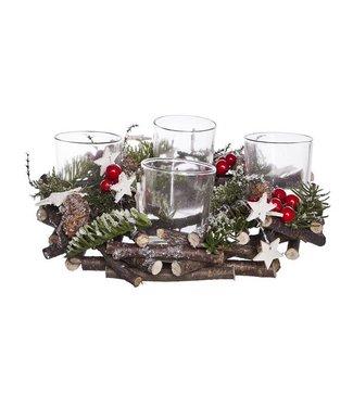 Cosy @ Home Kerstkrans 4glazen Sterren Bessen D24cmclassic Natuur Hout