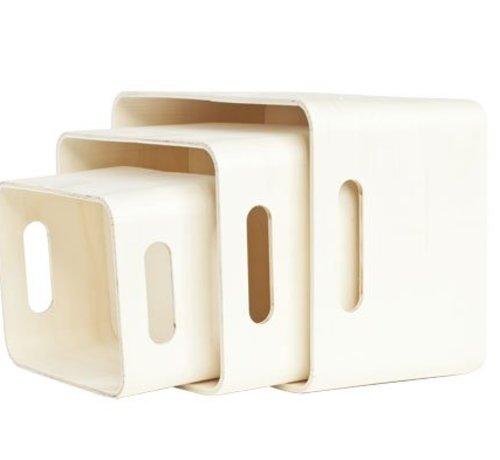 Cosy & Trendy Set3 Opbergboxen Gls Hout 33x25x19cm28x21x15 - 23x17x12 - Berwerkbaar