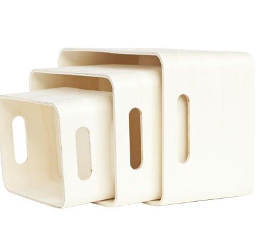 Set3 Opbergboxen Gls Hout 33x25x19cm28x21x15 - 23x17x12 - Berwerkbaar