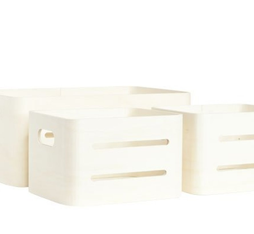 Set3 Opbergboxen Gls Hout 38x24x16cm2 X 22x18x14cm - Berwerkbaar