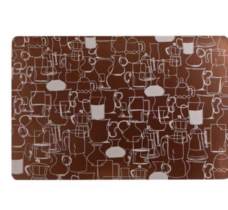 Placemat Kannen Design Brons 43.5x28.5cmpvc (set van 12)