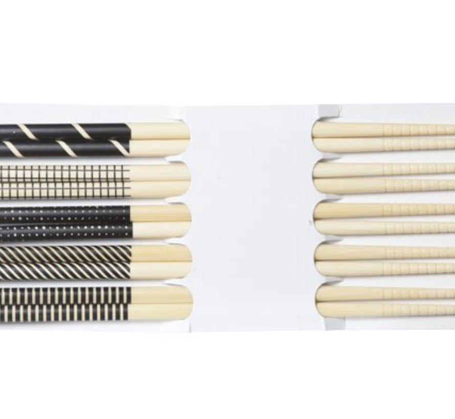 Chopsticks Black 22.5cm Set 5 Pairs