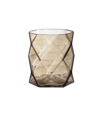 Cosy @ Home T-lighth Geometric Brown 8x8x9cmglass (set of 6)