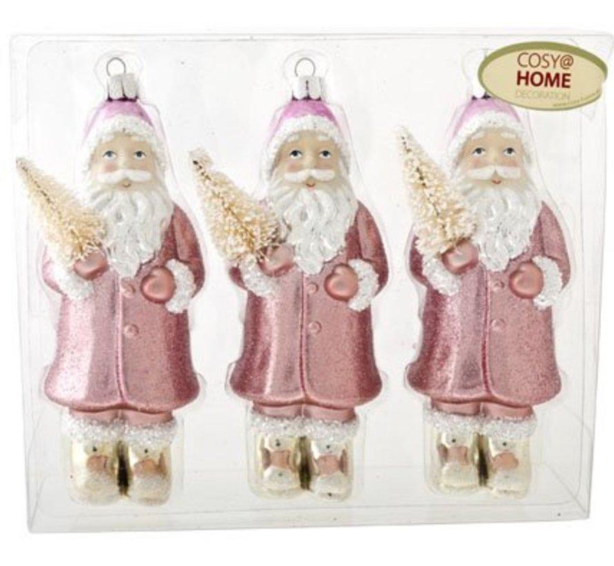 Santa Set3 Pink 5x4xh13cm Unbreakablein Pvc Box