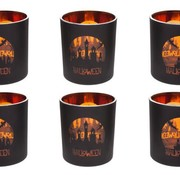 Cosy @ Home Theelichth Halloween 6ass Zw Oranje Glas7x7x8cm (set van 12)