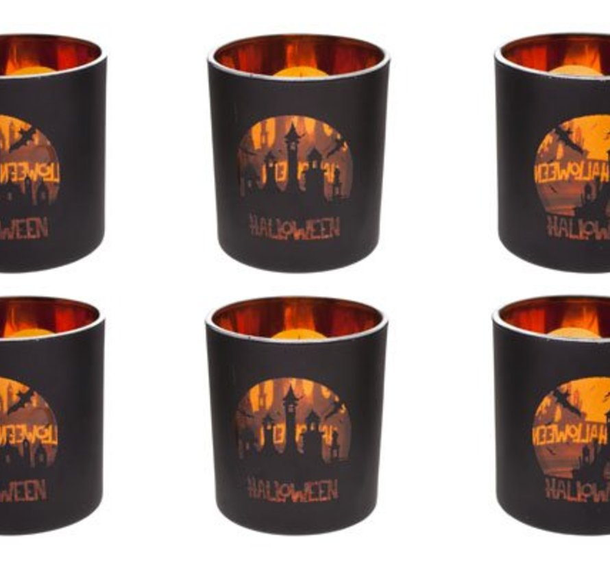 Theelichth Halloween 6ass Zw Oranje Glas7x7x8cm (set van 12)