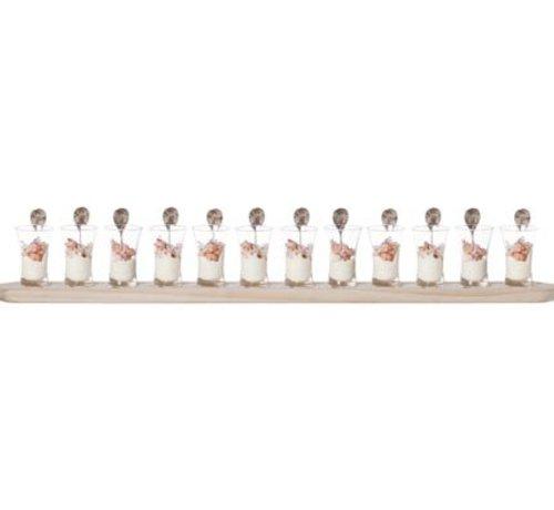Cosy & Trendy Proefset 12glazen 1plankje Hout-12lepelsglas D5x8.3cm Plankje 94x10x1.8cm