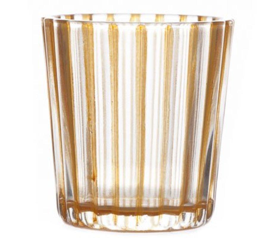 T-lichthouder Elize Glas Oranje 6x6x6cm (set van 12)