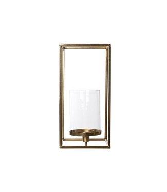 Cosy & Trendy T-lite Holder Square - Glass - Gold Xl15.5x15.5xh32cm