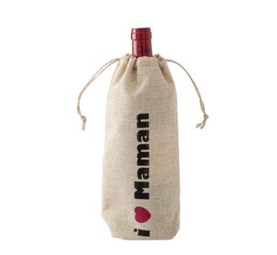 Wijntasje 'i - Maman'' 15xh30cm (set van 12)