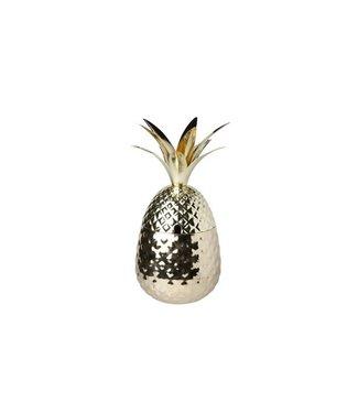 Cosy & Trendy Ananas - Beker - 80cl - Goud - D11-H24cm - RVS - (set van 6)