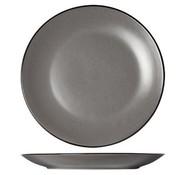 CT Speckle Grey Dessert Plate D19.5xh2.5cmblack Rim (set of 6)