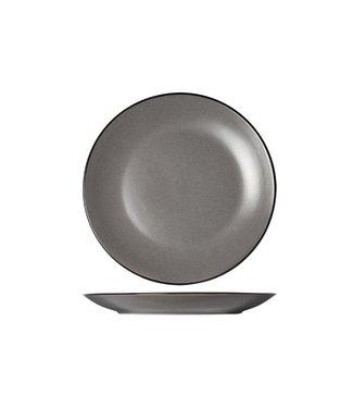 Cosy & Trendy Speckle Grijs Zwarte Boord Dessertborden D19.5xh2.5cm  - Aardewerk - (Set van 6)
