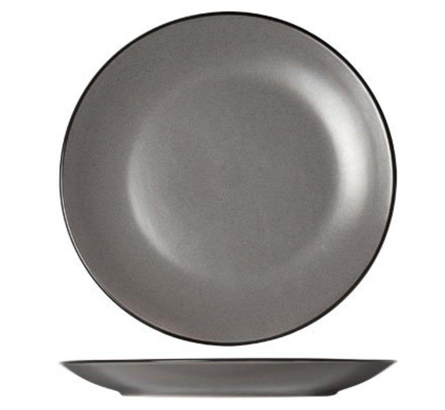 Speckle Grey Dessertbord D19.5xh2.5cmzwarte Boord (set van 6)