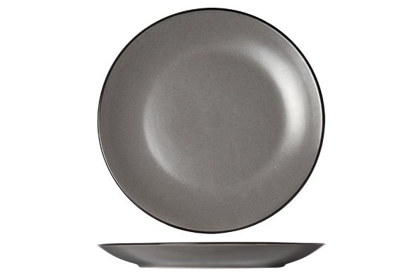 CT Speckle Grey Dessertbord D19.5xh2.5cmzwarte Boord (set van 6)