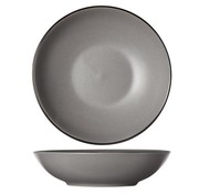 CT Speckle Grey Soup Plate D20xh5.3cmblack Rim (set of 6)