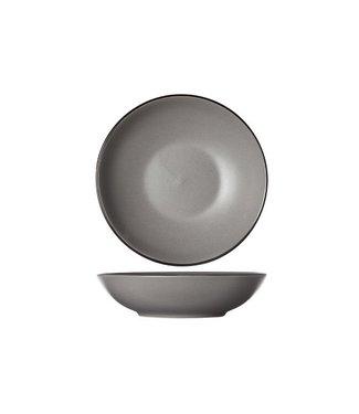 Cosy & Trendy Speckle Grey black Rim Deep Plates D20xh5,3cm - Ceramic - (set of 6)