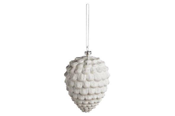 Cosy @ Home Denneappel Hanger Glitter Wit 8x11.5cmplastiek (set van 12)