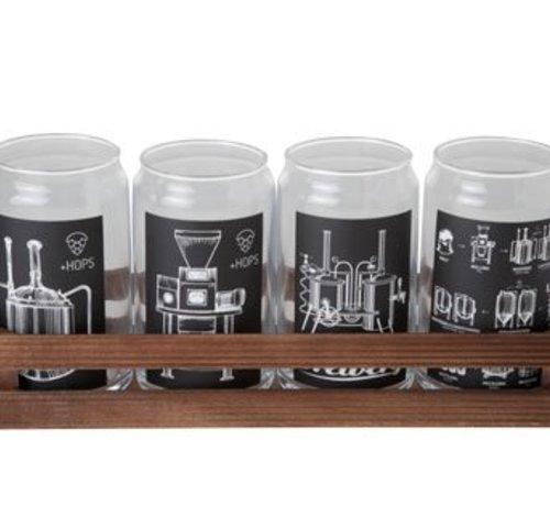 Cosy & Trendy Glazen Bokaal Met Print Set4 18x18xh13cmrechthoekig Hout Bakje (set van 6)