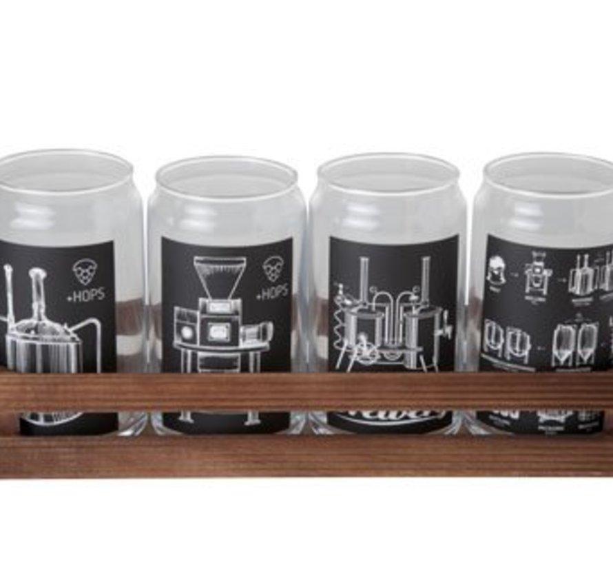 Glazen Bokaal Met Print Set4 18x18xh13cmrechthoekig Hout Bakje (set van 6)